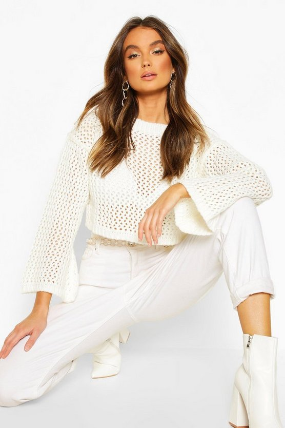 Loose Knit Flare Sleeve Cropped Jumper