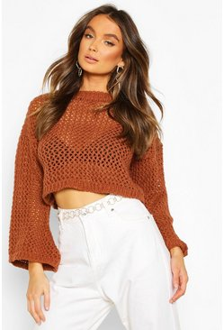 Loose Knit Flare Sleeve Cropped Jumper, Tan