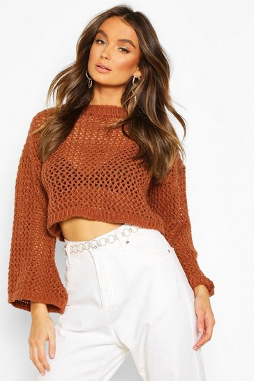 Tan Loose Knit Flare Sleeve Cropped Jumper