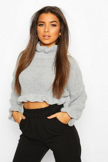 Womens Silver grey Ruffle Cropped Knitted Jumper