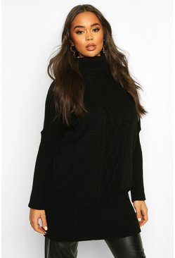 Cable Knit Roll Neck Jumper, Black, FEMMES