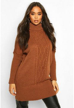 Tan Cable Knit Roll Neck Jumper