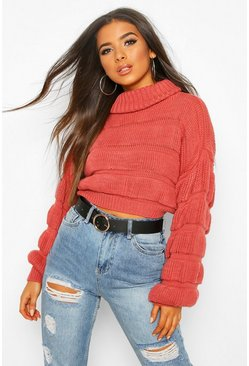 Rose Bubble Knit Cropped Jumper