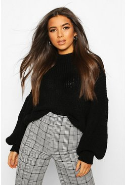 Black Oversized Sleeve Knitted Sweater