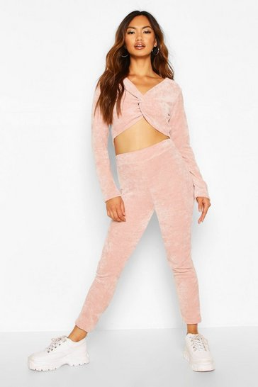 Womens Blush Soft Touch Chenille Crop & Legging Set