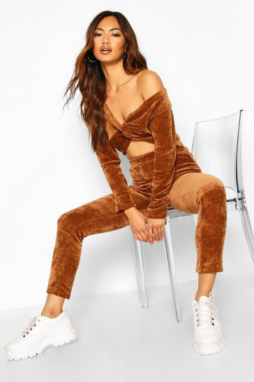 Womens Camel Soft Touch Chenille Crop & Legging Set