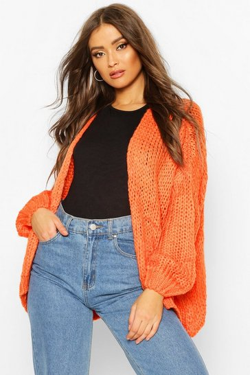 Orange Loose Knit Premium Boyfriend Cardigan