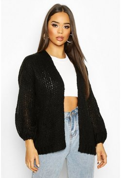 Black Loose Knit Premium Boyfriend Cardigan