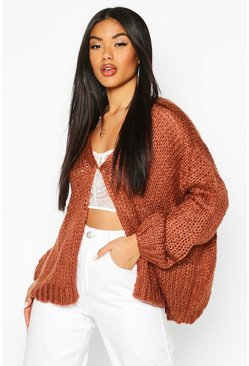 Chocolate Loose Knit Premium Boyfriend Cardigan