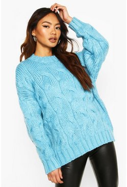 Blue Premium Large Cable Knit Sweater