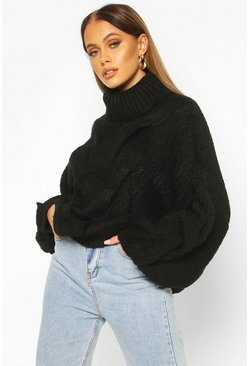 Premium Oversized Cable Knit Jumper, Black