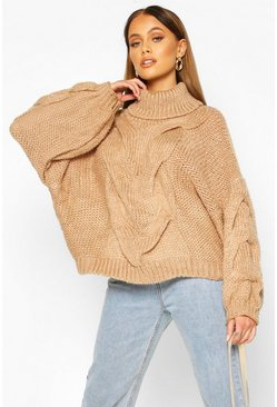Camel Premium Oversized Cable Knit Jumper