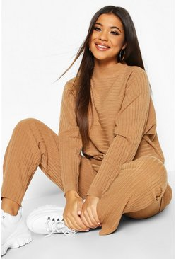 Camel Premium Oversized Rib Knit Jumper & Trouser Co-ord