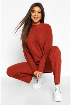 Rust Premium Oversized Rib Knit Jumper & Trouser Co-ord