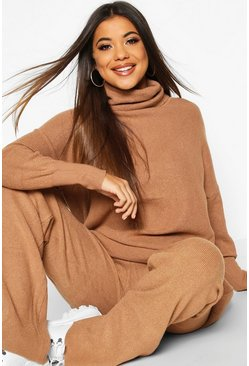 Premium Oversized Roll Neck & Knitted Trouser Co-ord, Camel