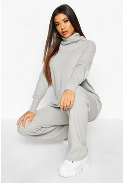 Premium Oversized Roll Neck & Knitted Trouser Co-ord, Grey