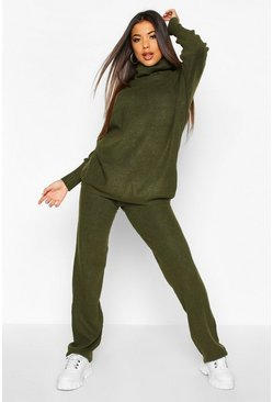 Khaki Premium Oversized Roll Neck & Knitted Trouser Co-ord