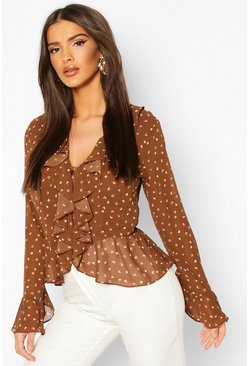 Chocolate Spot Print Ruffle Blouse