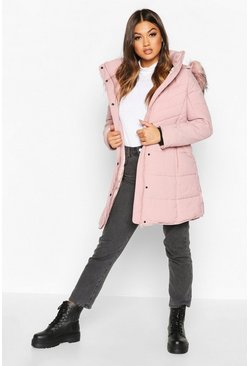 Dam Blush Faux Fur Trim Quilted Detail Parka Coat