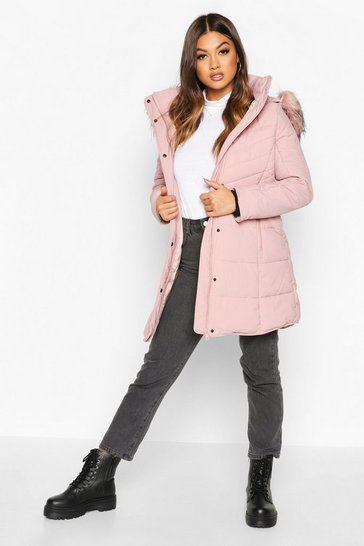 Womens Blush Faux Fur Trim Quilted Detail Parka Coat