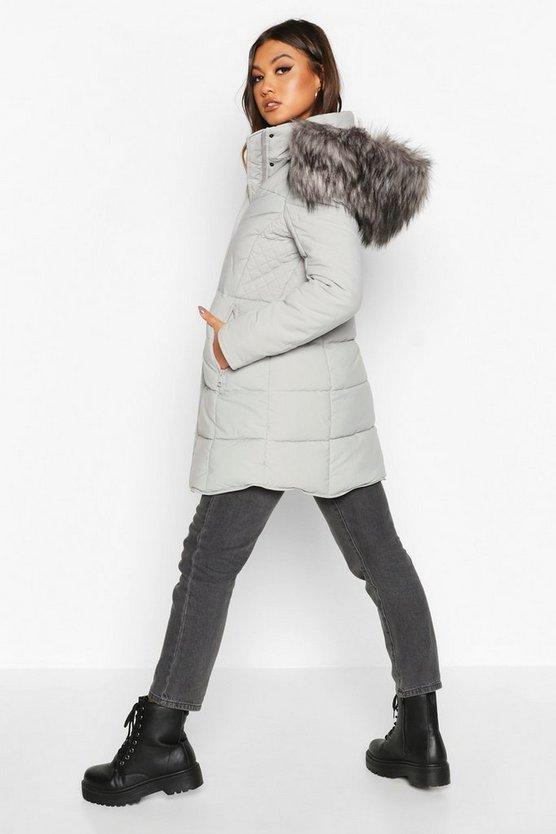 Faux Fur Trim Quilted Detail Parka Coat