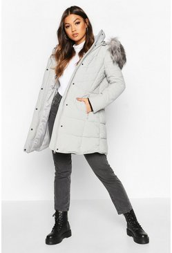 Womens Grey Faux Fur Trim Quilted Detail Parka Coat