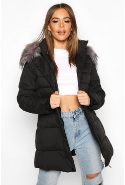 Womens Black Faux Fur Trim Parka Coat