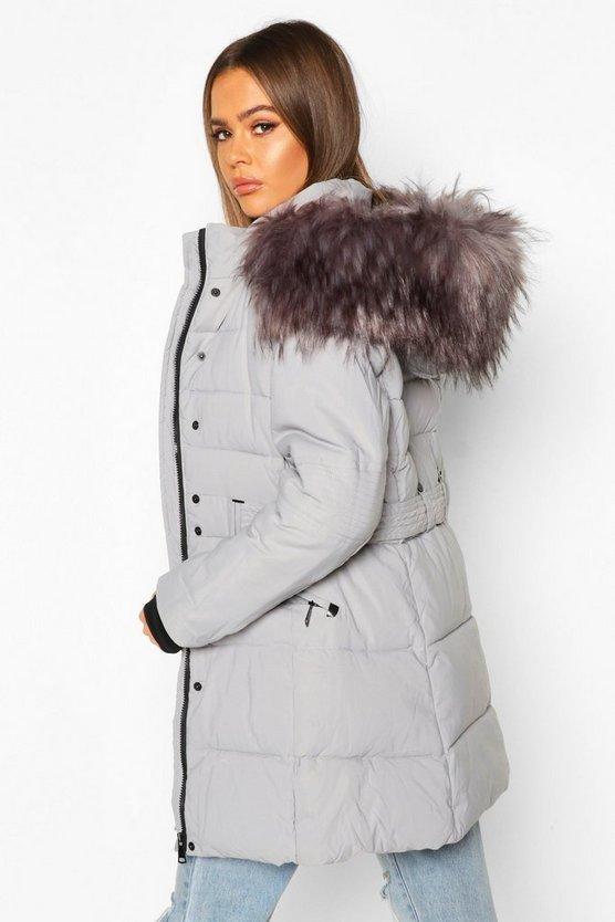 Faux Fur Trim Parka Coat