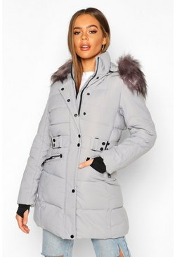 Grey Faux Fur Trim Parka Coat