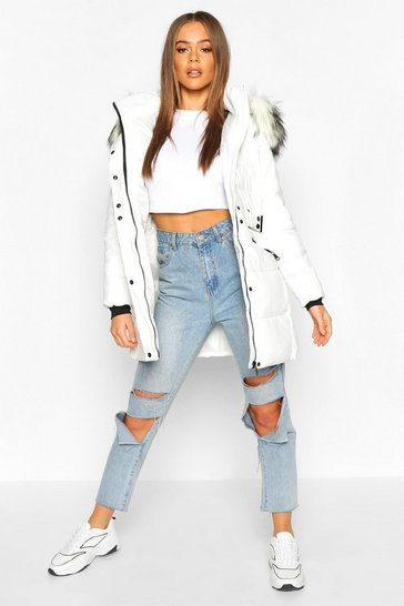 Womens Ivory Faux Fur Trim Parka Coat