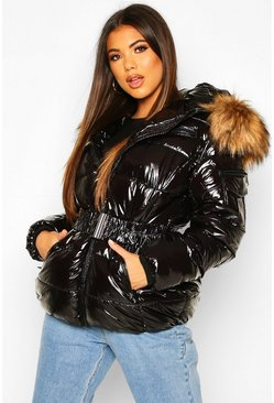 Womens Black Vinyl Faux Fur Hooded Belted Puffer Jacket