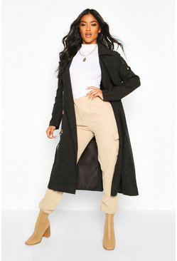 Double Breasted Trench Coat, Black
