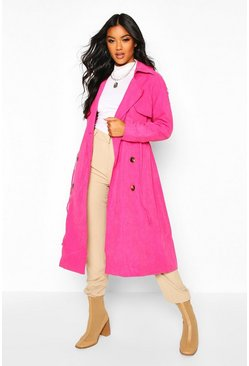 Womens Fuchsia Double Breasted Trench Coat