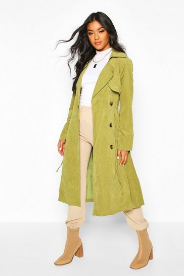 Womens Green Double Breasted Trench Coat