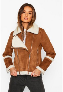 Camel Suedette Aviator With Teddy Faux Fur Lining