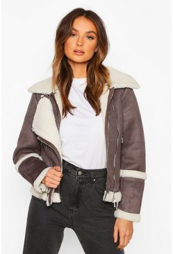 Grey Suedette Aviator With Teddy Faux Fur Lining