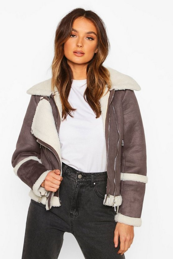 Suedette Aviator With Teddy Faux Fur Lining