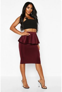 Womens Berry Scuba Peplum Midi Skirt