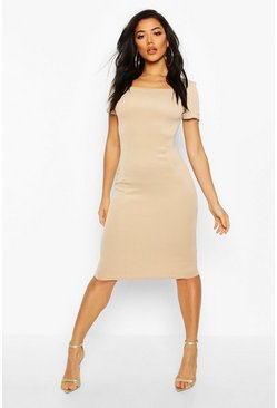 Womens Stone Square Neck Roll Sleeve Midi Dress