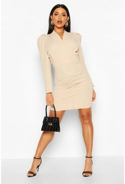 Beige Button Detail Ruched Puff Shoulder Dress