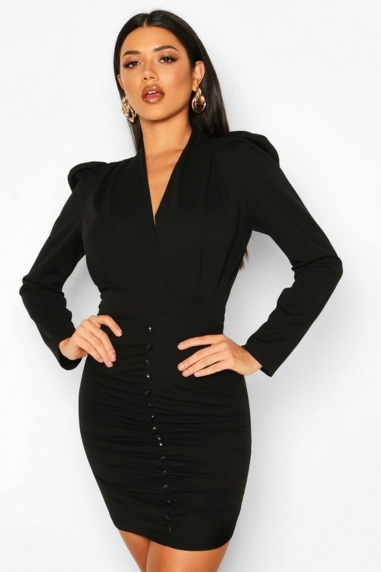 Black Button Detail Ruched Puff Shoulder Dress