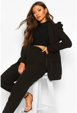Puff Shoulder Blazer, Black, ЖЕНСКОЕ