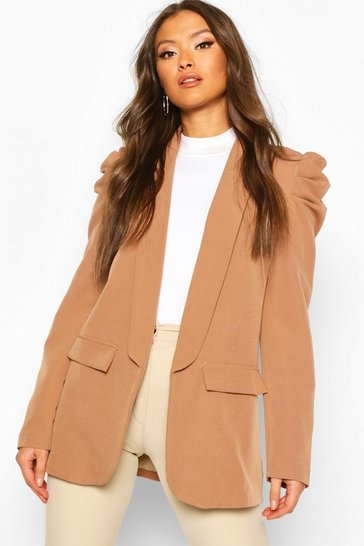 Womens Camel Puff Shoulder Blazer