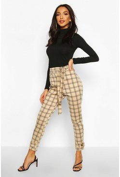 Womens Stone Check Grid Tie Belt Button Hem Tapered Trouser
