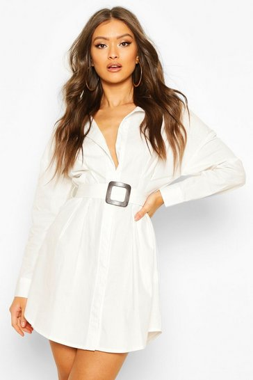 Womens White Belted Shirt Dress