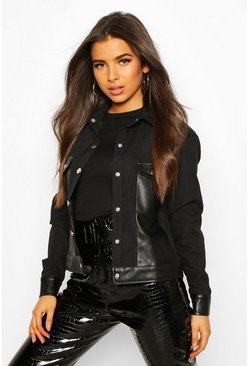 Faux Suede Pu Mix Utility Jacket, Black, ЖЕНСКОЕ