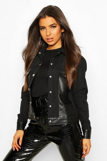Womens Black Faux Suede Pu Mix Utility Jacket