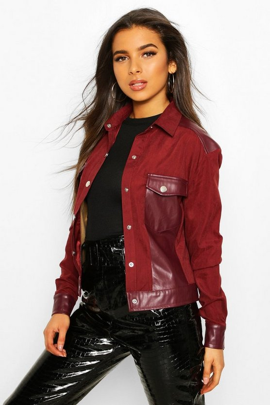 Wine Faux Suede Pu Mix Utility Jacket