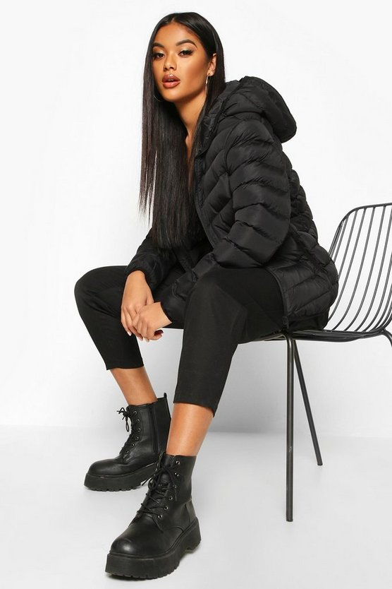 Black Hooded Panelled Puffer Jacket