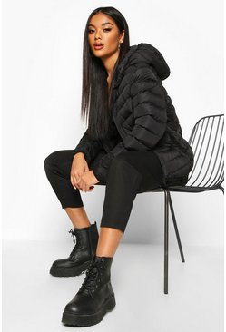 Womens Black Hooded Panelled Puffer Jacket